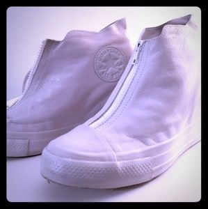 White leather hightop converse wedges